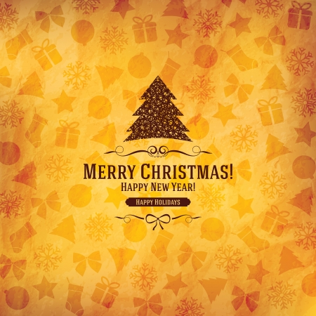 greeting card background: Christmas and New Year  Vector greeting card