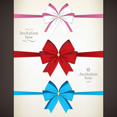 Set of colored bow for your invitations Stock Vector - 21953418