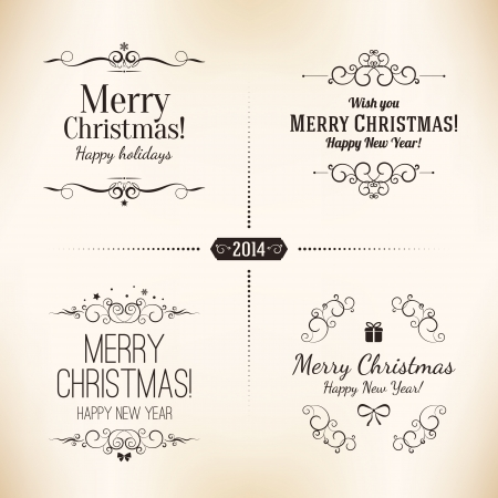 Happy New Year 2016 Decoration Collection Frames Vintage Labels
