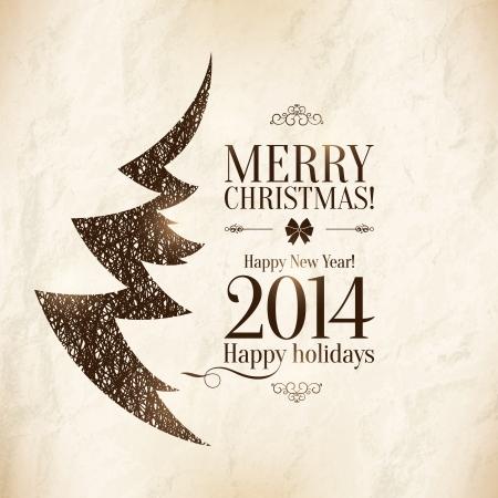 Weihnachten und Neujahr Vector Gru?karte Illustration