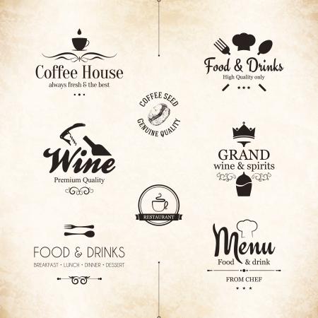 gorro chef: Etiqueta de conjunto para el dise?o del men? del restaurante Vectores