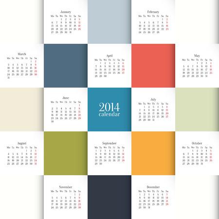 calend�rio: Vector 2014 Modelo de calend�rio