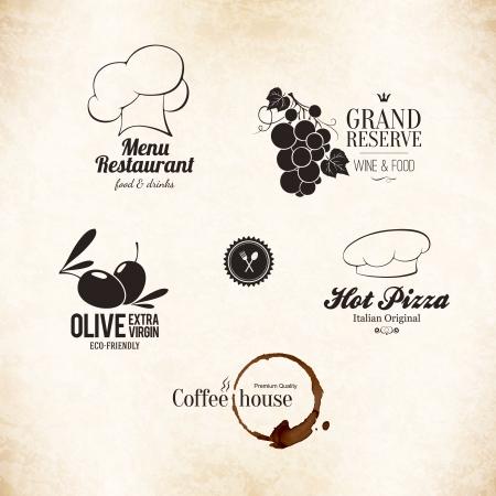 와인: 레스토랑 메뉴 디자인 라벨 세트