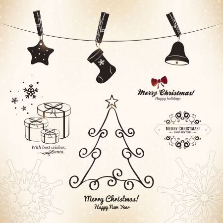 december background: Christmas and New Year symbols for designs