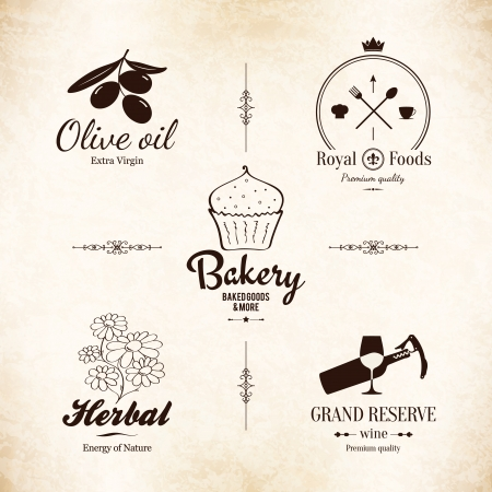 restaurant icons: Label set for restaurant menu design