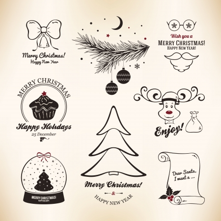 Christmas and New Year symbols for designs postcard, invitation, poster and others Stock Vector - 23871906