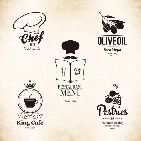 gorro chef: Etiqueta de conjunto para el dise�o del men� del restaurante Vectores