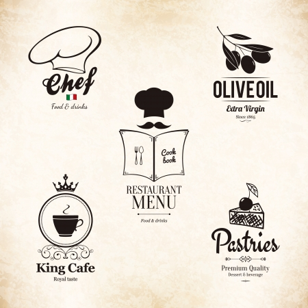 cake illustration: Label set for restaurant menu design
