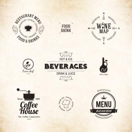 aceite de oliva: Etiqueta de conjunto para el dise�o del men� del restaurante Vectores