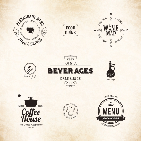 Label set for restaurant menu design Vector
