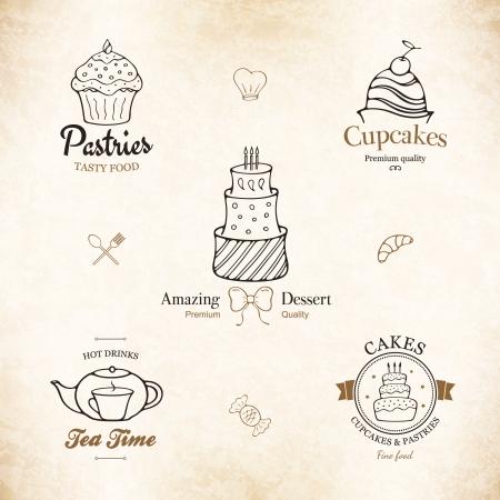 Etikettensatz für Restaurant-Menü, Bäckerei und Konditorei Illustration