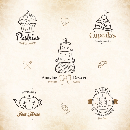 cupcake illustration: Label set for restaurant menu, bakery and pastry shop