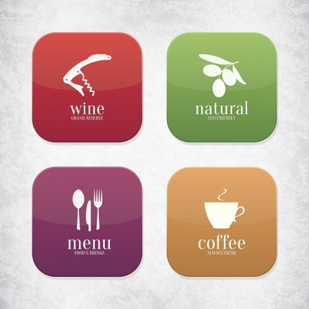 Food and drink application icons Vector