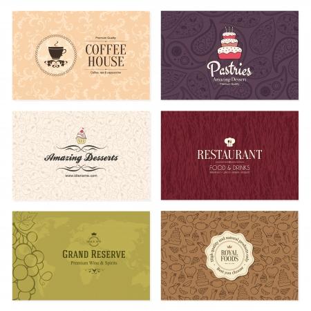 copas: Conjunto de 6 tarjetas de visita detalladas para bar y restaurante Vectores