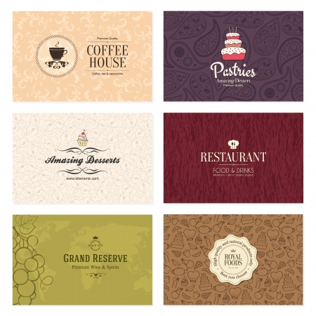 Set of 6 detailed business cards  For cafe and restaurant Vector