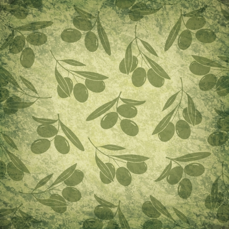 Old background with olive branches Vector