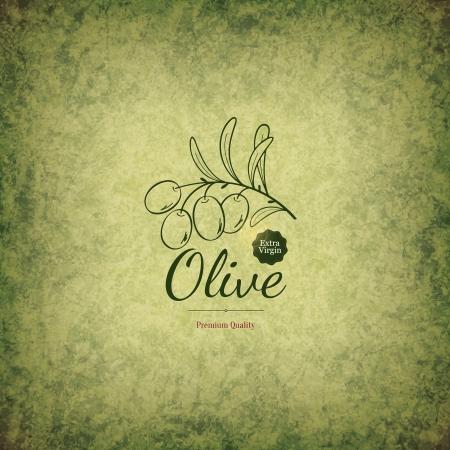 Olive label design Vector