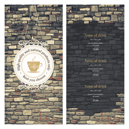 Menu for restaurant, cafe, bar or coffee house