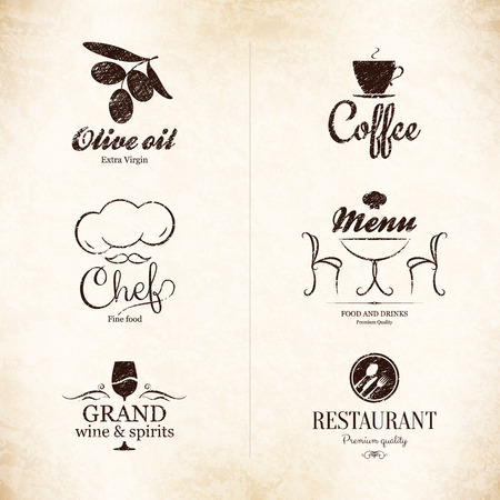 victorian house: Label set for restaurant, cafe, bar, coffee house