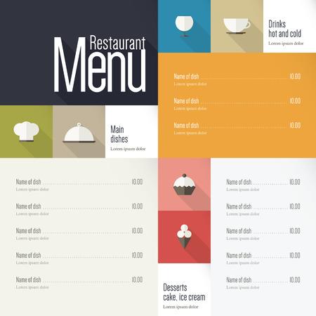 menu card design: Restaurant menu  Flat design