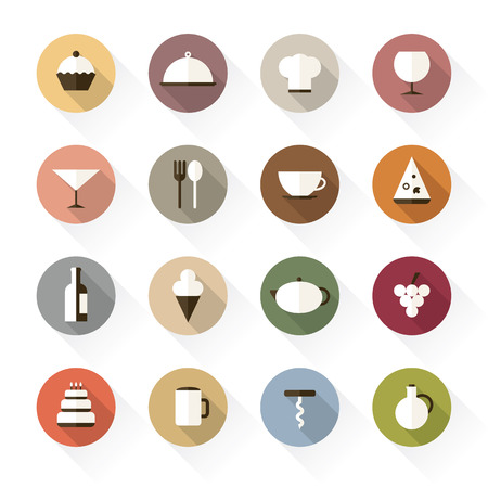 Food and drinks icons in flat design, with long shadows Vector