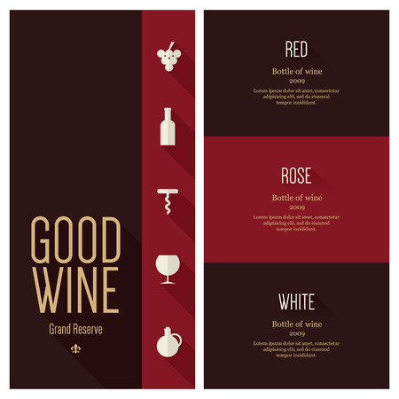 wine list: Wine list design  Flat design