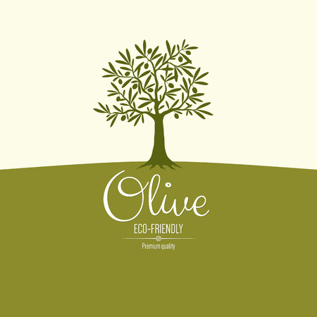 arbre feuille: Conception de l'�tiquette d'olive Illustration