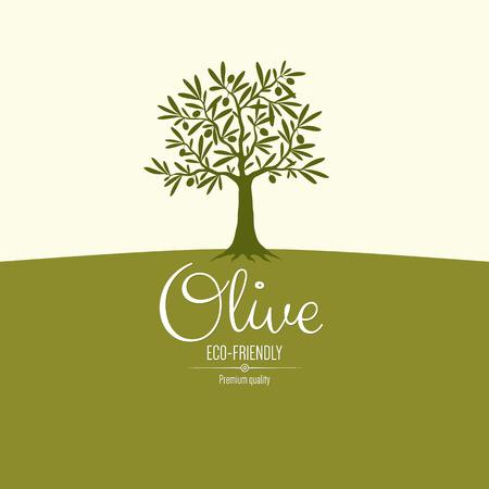 olivo arbol: Diseño de la etiqueta de oliva Vectores