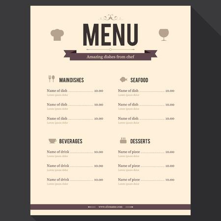 Restaurant menu  Flat design Vector