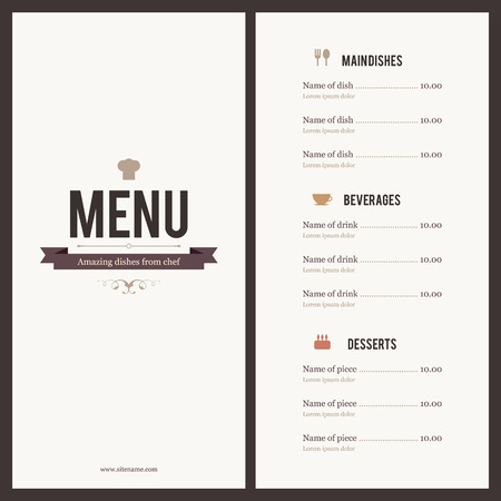 Restaurant menu Design piatto