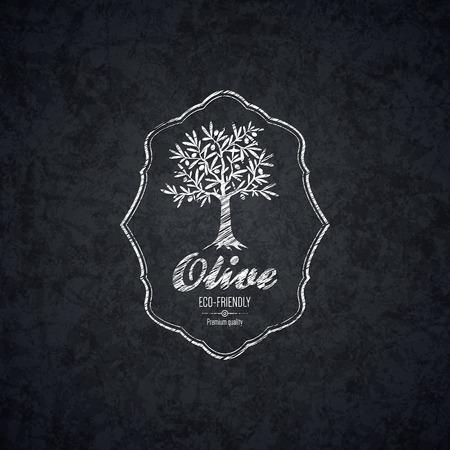 feuille arbre: Conception de l'étiquette d'olive Illustration