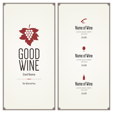 wine label: Restaurant menu design