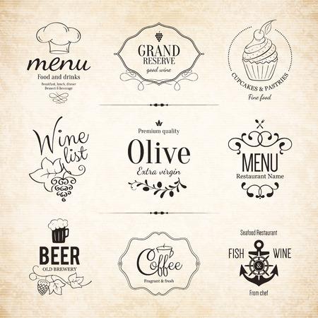 brewery  hops: Label set for restaurant menu design