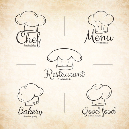 Chef hat labels set for restaurant menu design 向量圖像