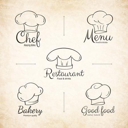 eatery: Chef hat labels set for restaurant menu design Illustration
