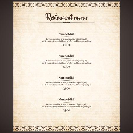 restaurante: Projeto do menu do Restaurant Ilustração