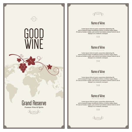 menu background: Wine list design Illustration