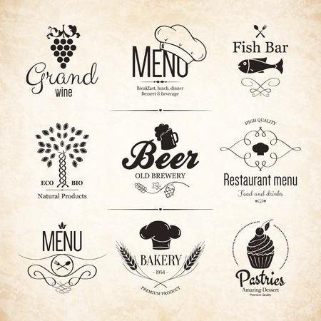 레스토랑 메뉴 디자인 라벨 세트