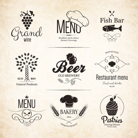 Jeu d'étiquettes pour la conception de menu de restaurant Banque d'images - 29616509
