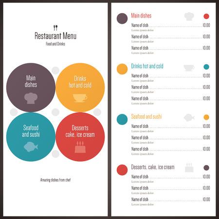 beverage menu: Restaurant menu  Flat design