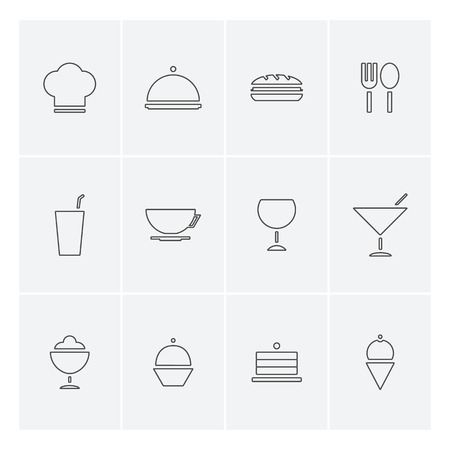Food and drinks icons in flat design Vector