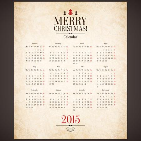 Vector 2015 calendar template Vector