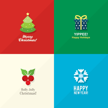 Christmas and New Year icons in flat design Vector