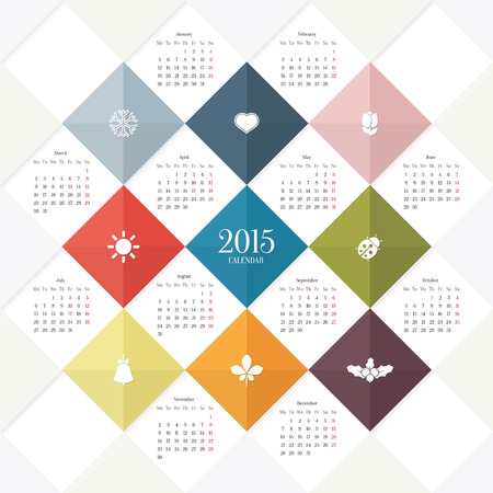 2015 calendar template Vector