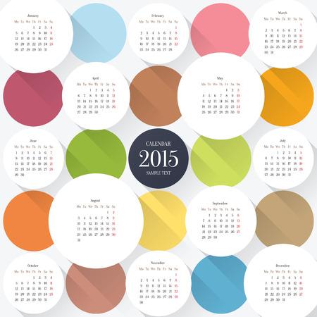 футуристический: 2015 шаблон календаря Иллюстрация