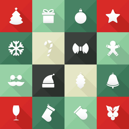Christmas and New Year icons in flat design, with long shadows Vector