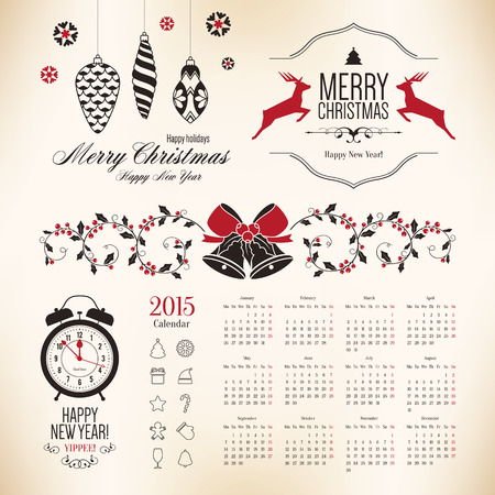 Christmas and New Year symbols for designs postcard, invitation Vector