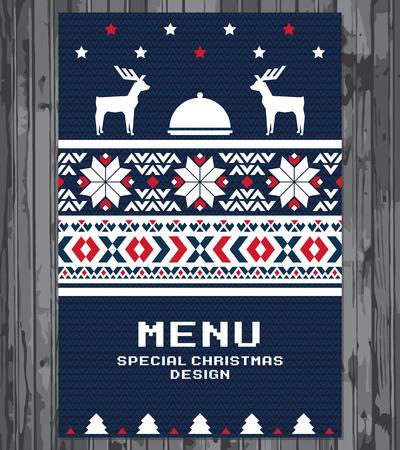 renna: Disegno del menu di festa Speciale Natale Vettoriali