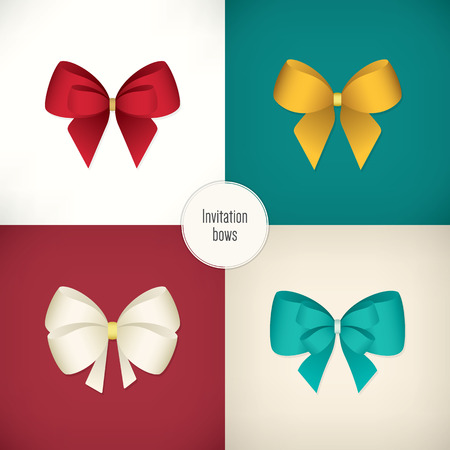 Set of colored bow for your invitations Vector
