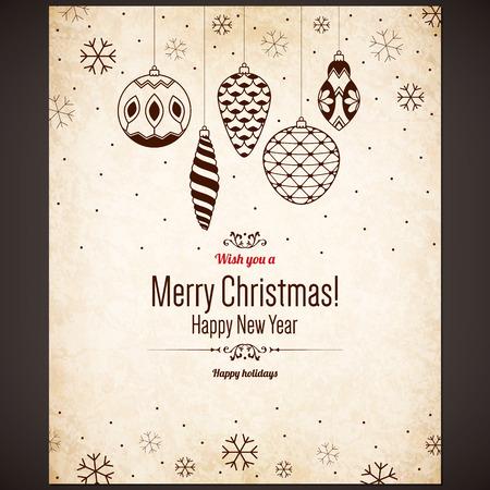 Noël et Nouvel An carte de voeux Banque d'images - 30728065